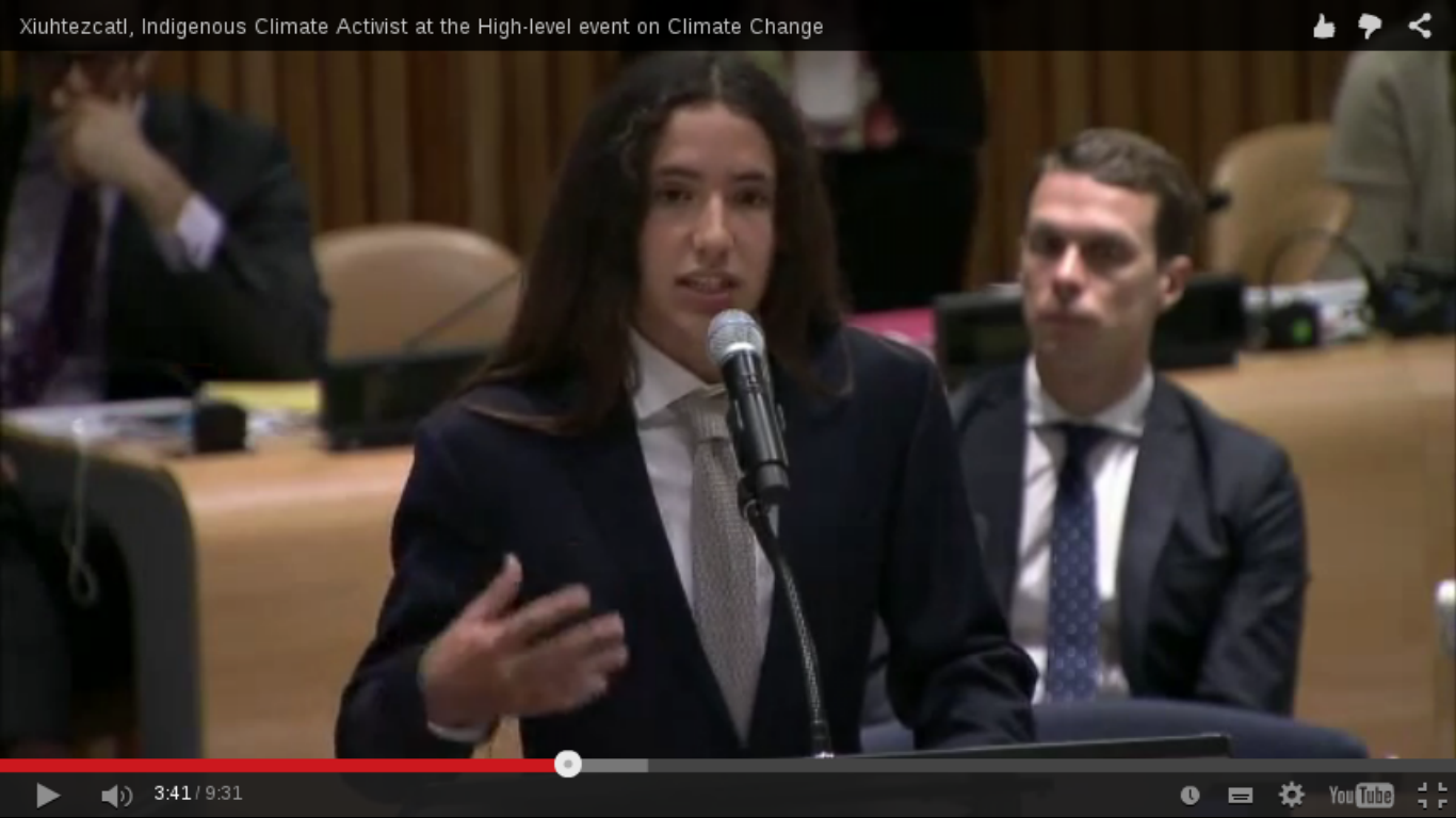 XIUHTEZCATL OPENS UNITED NATIONS HIGH LEVEL EVENT ON CLIMATE CHANGE